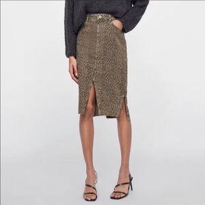 NWT Zara Cheetah Print Jean Asymmetrical Skirt XS